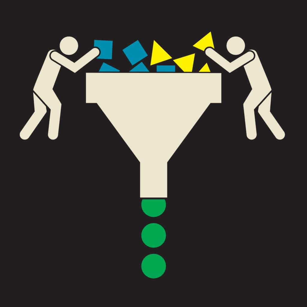 image of cartoon men putting blocks into funnel representing business process inputs and outputs